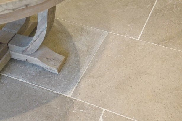 Our silver grey limestone has a soft aged appearance which for Classic kitchen floor tile