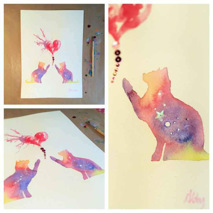 Something for the #cat lovers! NEW 'Undiscovered' A3 Original now available at www.abbynealart.com!  #cats #animals #watercolour #mixed-media #sequins #gems #colour #colourful #modern #abstract