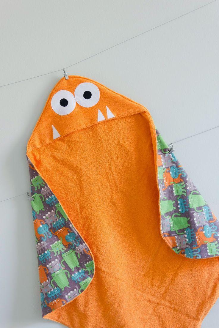 DIY Une serviette pour bébé avec monstre. (Create: Infant Hooded Towel Tutorial) (http://hillmade.blogspot.fr/2014/06/create-infant-hooded-towel-tutorial.html#.VtVvs8dTK0w)