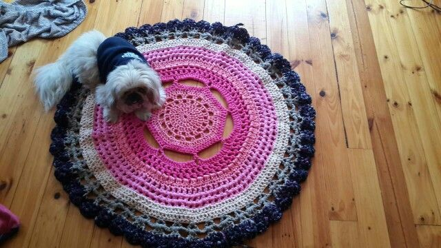 Our T yarn Matt made by my sister for the shop how beautiful it is.
