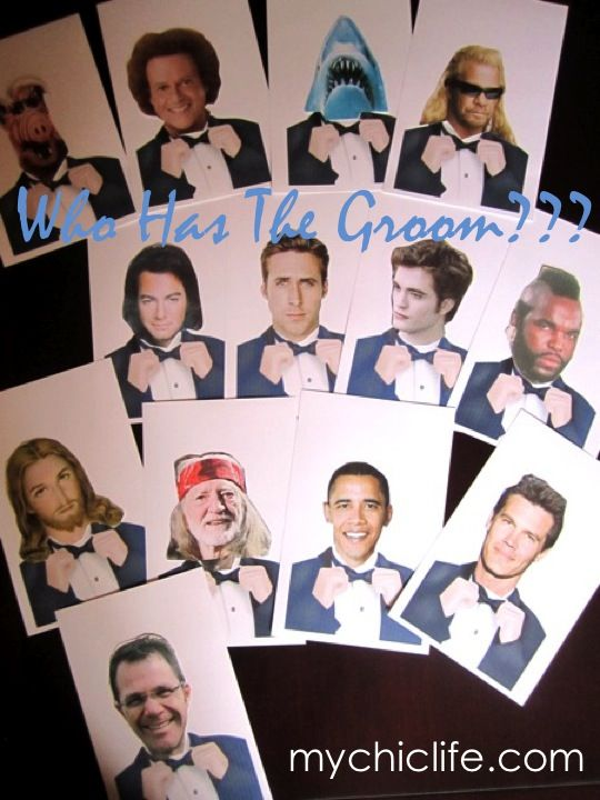 """who has the groom game"" each guest gets sealed envelope when they arrive. Whoever had groom wins a prize!  Super fun!"