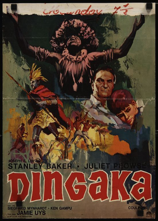Dingaka Belgian movie poster. Art by Ray (Raymond Elseviers)