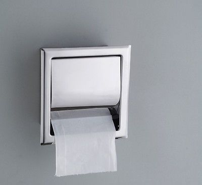 Modern Square Shape Stainless Steel Concealed Installation Toilet Paper Holder