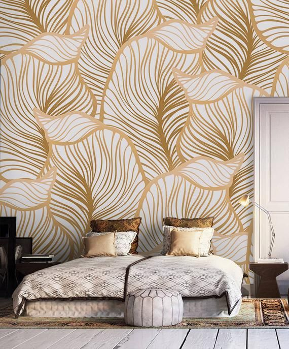 Leaf Wallpaper Print Painting Home Decor Wall Decal Removable Peel And Stick Wallpaper Wall Decor Sticker Clipart Art Print Boho Retro Leaf Wallpaper Wallpaper Walls Decor Home Decor