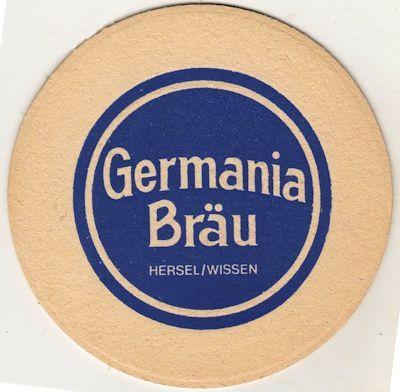 Germania Bräu - der letzte Bierdeckel. Dieses ist natürlich die Vorderseite - die Rückseite in Rot gleich nebenan