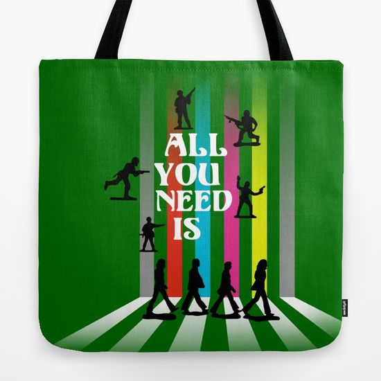 "All You Need Is ....Tote Bag.  Anti-War interpretation of the ""Abbey Road"" album cover using toy soldier silhouettes and typography.  #graphicdesign  #digital  #beatlefan #allyouneedislove #johnlennon #nomorewar #typography  #popart   #toysoldiers  #music  #songs  #road   #abbeyroad  #bands  #sixties  #pop   #rock  #love  #art  #designs   #anti-war"