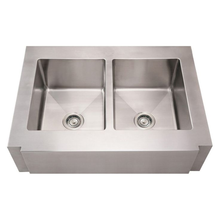 Whitehaus Noahs Collection 36 in. Commercial Double Bowl Sink - WHNCMAP3621EQ