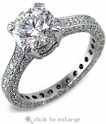 CZ Cubic Zirconia 2.5 Carat 9mm Brilliant Round & Pave Solitaire Engagement  Ring 14K White Gold