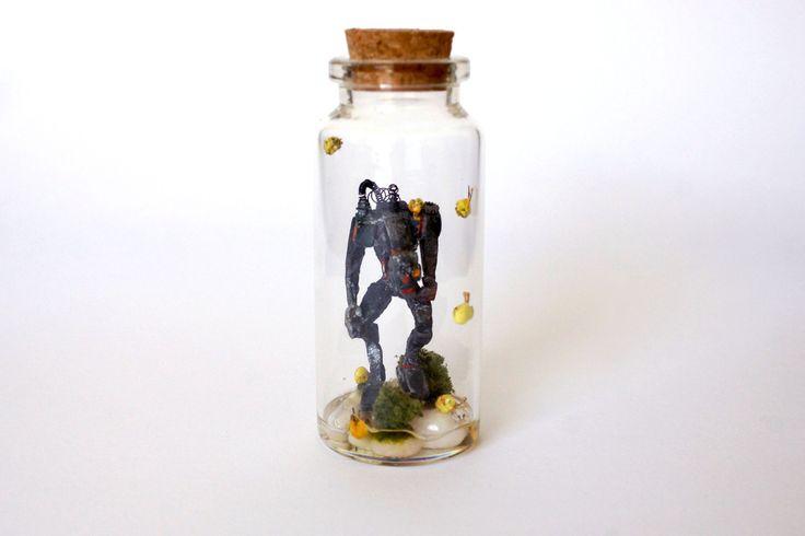 TinyLand #42Glass Bottle,Robot,Snail,Handmade,Personalised Gift,Nature,Terrarium,Tiny world,Miniature,Fun Gift,Steampunk by TinyLandme on Etsy