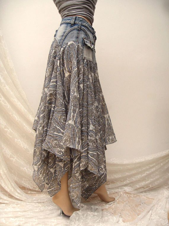 Denim Festival folk maxi skirt Boho upcycled skirt gypsy