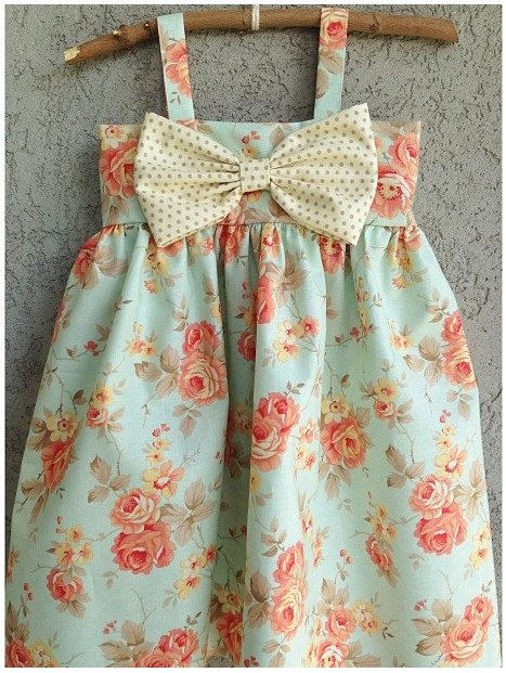 Mint with Pink/Coral floral pattern, Big Bow Dress