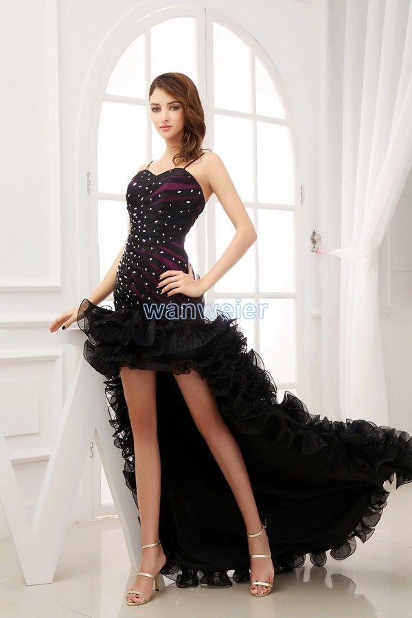 Sheath Hi-Lo Sling Sweetheart Organza & Satin Black Evening Dress With Beading Sequins