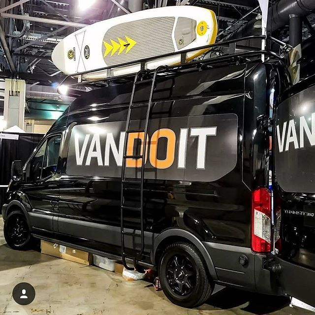 @vandoitco exhibiting their Ford Transit build with Aluminess gear at the Philly Bike Expo  .  #aluminess #roofrack #ladder #fordtransitvan #fordtransit #adventurevan #adventuremobile #vanconversion #campervan #sup #surfvan #bikes #bicycles #bikeexpo #phillybikeexpo