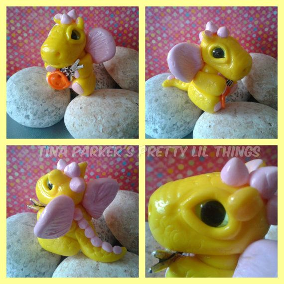 Polymer Clay Baby 'sunshine' sewing Dragon. by Tinascraftsforyou, £12.95