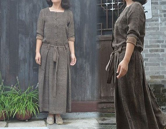 343---Distressed Gambiered Canton Silk Dress, Brown Maxi Dress, Made to Order.