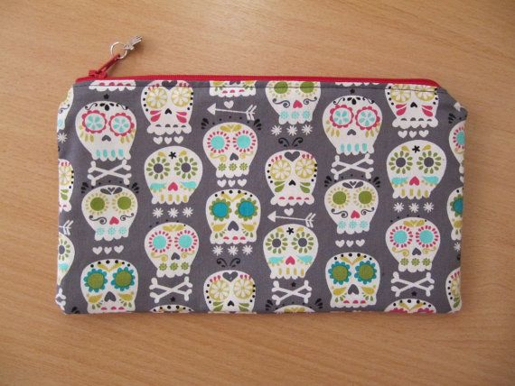 For Goths, Punks and Steampunk lovers.    Make Up Bag, Cosmetic Purse, Bonehead Design Fabric by Michael Miller.