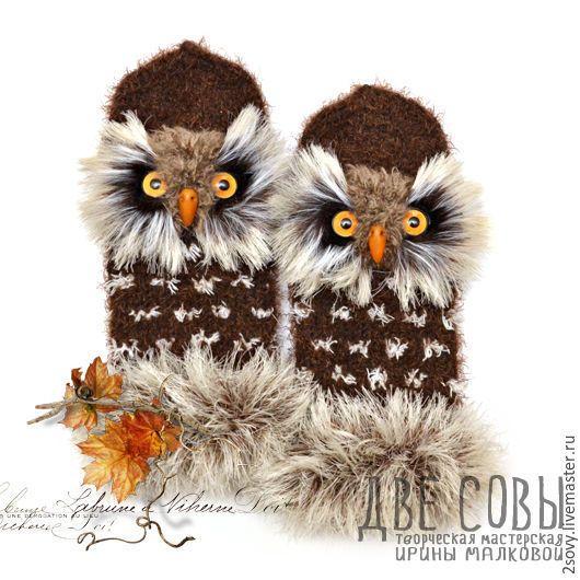 Купить Варежки Совы - коричневый, сова, варежки совы, варежки с совой, совы…