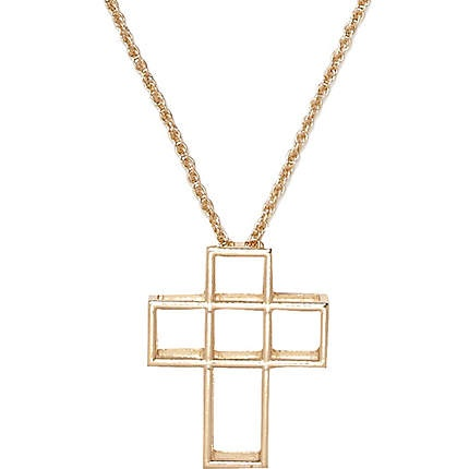 Gold tone cut out cross necklace