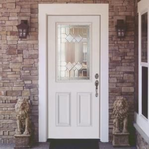 Feather River Doors 33.5 In. X 81.625 In. Mission Pointe Zinc 1/2 Lite  Unfinished Smooth Right Hand Inswing Fiberglass Prehung Front Door