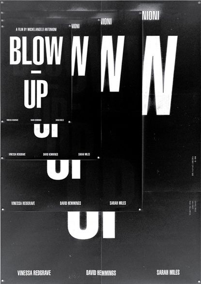 blown up black and white layered poster