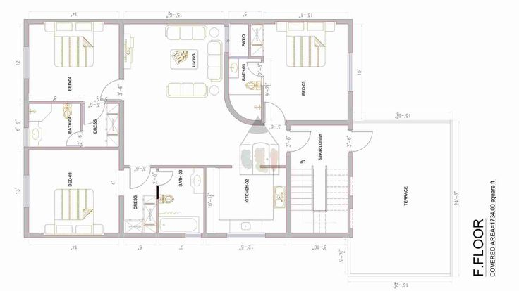 The size of 14 marla house plan is very popular in Pakistan especially  in Islamabad. This house plan features two bedrooms with attached  bathrooms on the ground floor and 3 bedrooms with attached bathrooms on  the first floor. Both the portions has their independent kitchen  facility available. The house plan is designed keeping in view Pakistani  family culture in mind.