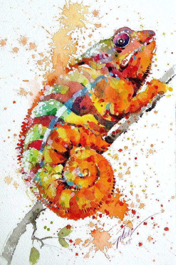 Aquarelle • caméléon avec gouache • 13,3 x 20 cm • Peinture originale