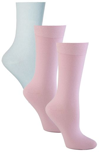 Womens Pink, Lavender, Lt. Blue Assorted 3 Pack Diabetic Socks
