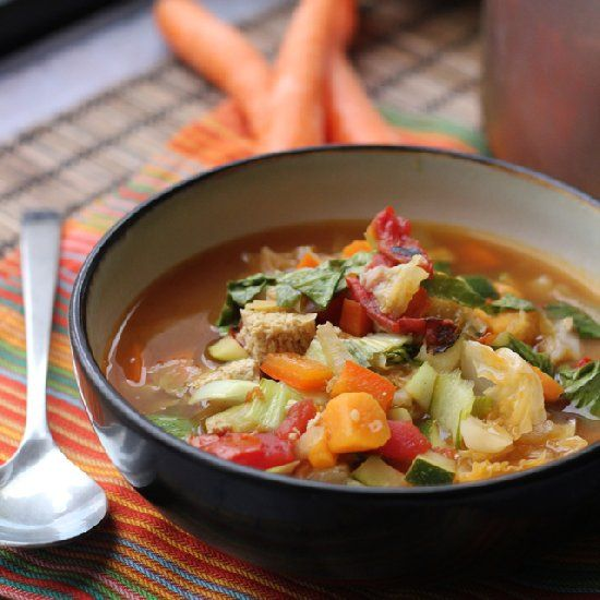 Vegan Chinese nine-vegetable hot and sour soup.
