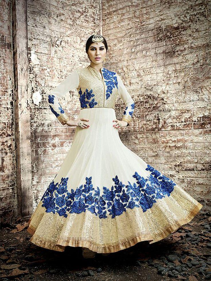 Cute White Georgette Designer Salwar Kameez
