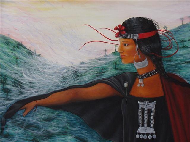 Respirando en el valle...  acrílico sobre tela,mujer mapuche, Chile