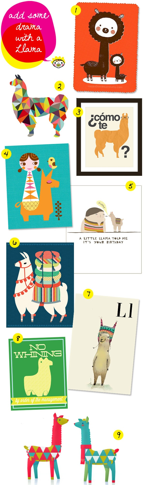 Maddie is calling it! foxes, owls are so last year! llamas are the new 'it' animal  via colour me there. wall-art-llama-kids-room