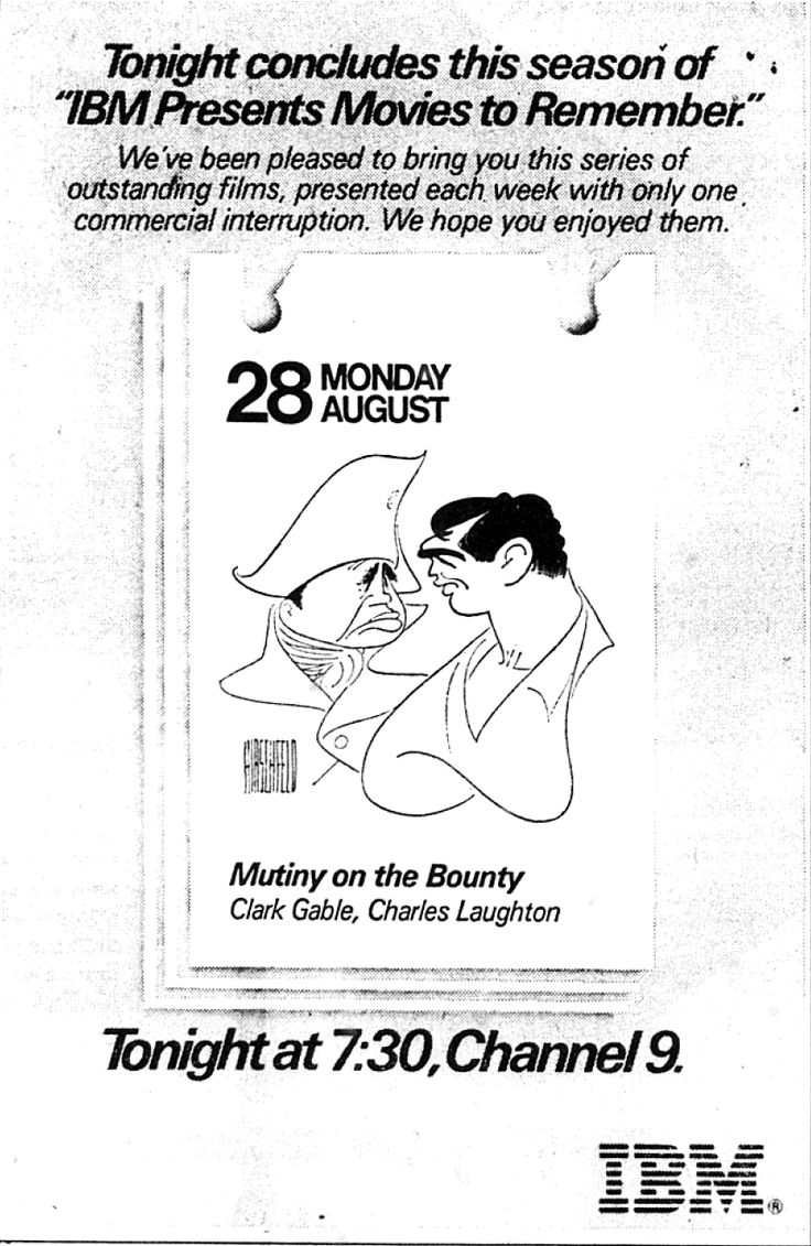 "Al Hirschfeld ~ IBM presents ""Movies to Remember"": Clark Gable and Charles Laughton in ""Mutiny on the Bounty"""