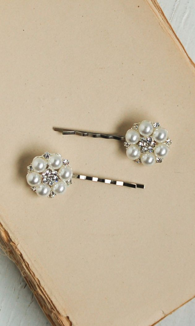 2 Rhinestone & Pearl Bobby Pin Set Wedding