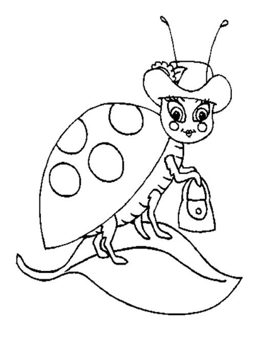 Ladybug Using Hat Coloring Pages