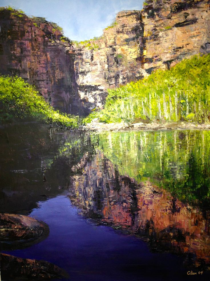 We rock hopped to discover this gem in Kakadu Park, Jim Jim Falls, NT.  Painting done mainly by palette knife.