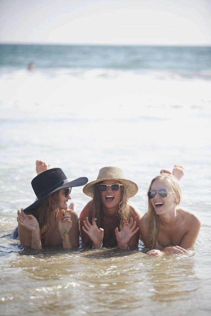 Friends at the beach, girls, on the shore, in the water, beach fun!
