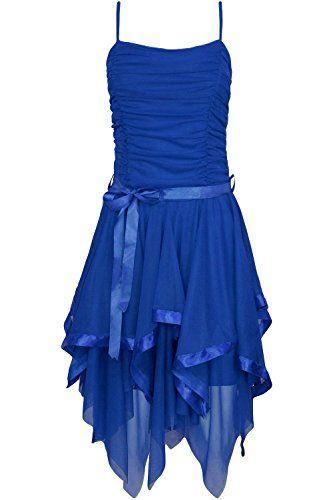 Fast Fashion – Robe Mousseline De Soie Plaine Zigzag Ourlet Prom Party Cravate De Ceinture Ruché – Femmes