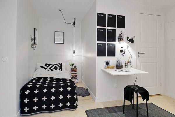 conception fraîche salle intérieure avec un lit et une lampe pendentif unique
