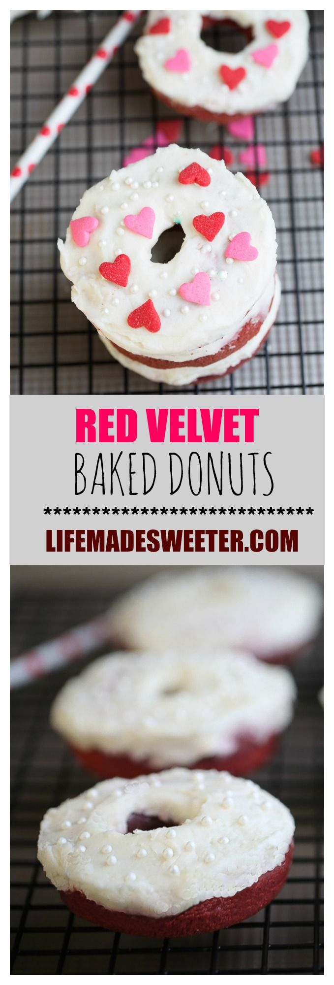 Baked Red Velvet Cake Donuts / doughnuts with a sweet and slightly tangy cream cheese frosting. So easy to make and perfect for Valentine's Day!