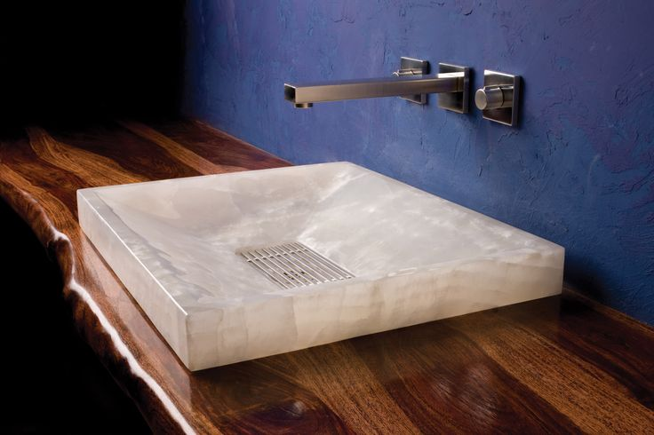 Stone Forest S Sync Drop In Is A Rectangular Vessel Sink Exquisitely Cut From White Onyx Or Amber Onyx The Angular Shallow Basin Is Fitted At Its