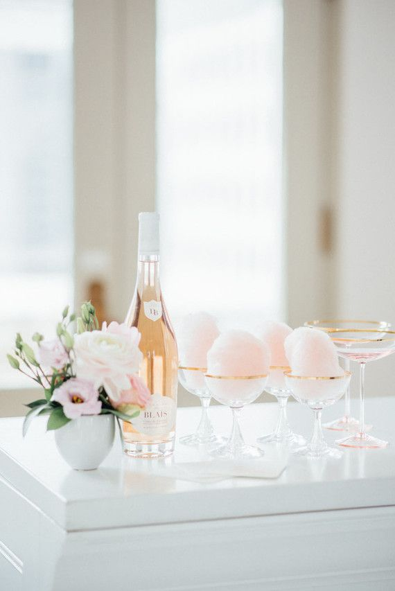 Pink cotton candy cocktails