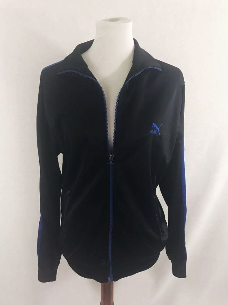 Puma Sport Men Full Zip Black Track Jacket Medium  #PUMA #CoatsJackets #AthleticWear #EbayFashion #TrackJacket #BlackJacket