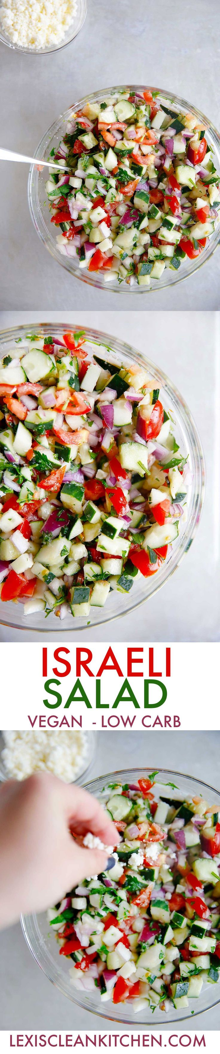 Israeli Salad {low-carb, vegan option, grain-free} | Lexi's Clean Kitchen