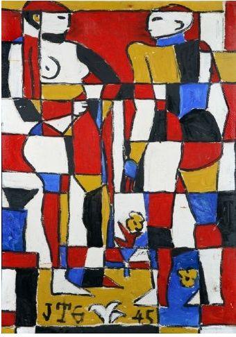 Joaquin Torres Garcia, Two Primitive Constructive Figures, 1945, Oil On  Board,
