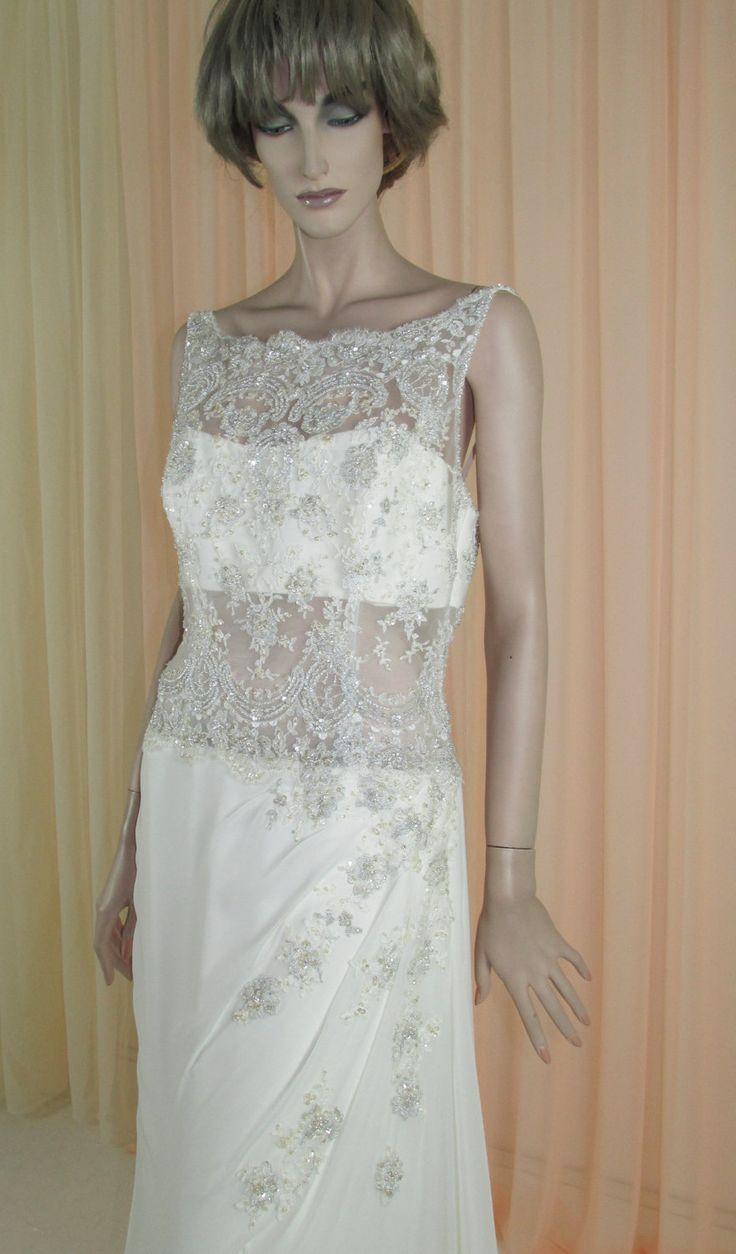 anni 90 Vintage Abito da sposa in chiffon - sexy abito da sposa dal 1990 – – scollatura illusione – Made in Italy