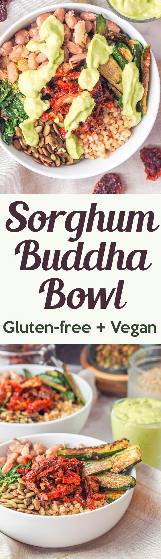 Sorghum Buddha Bowl with Veggies and Avocado Sauce (GF, Vegan)