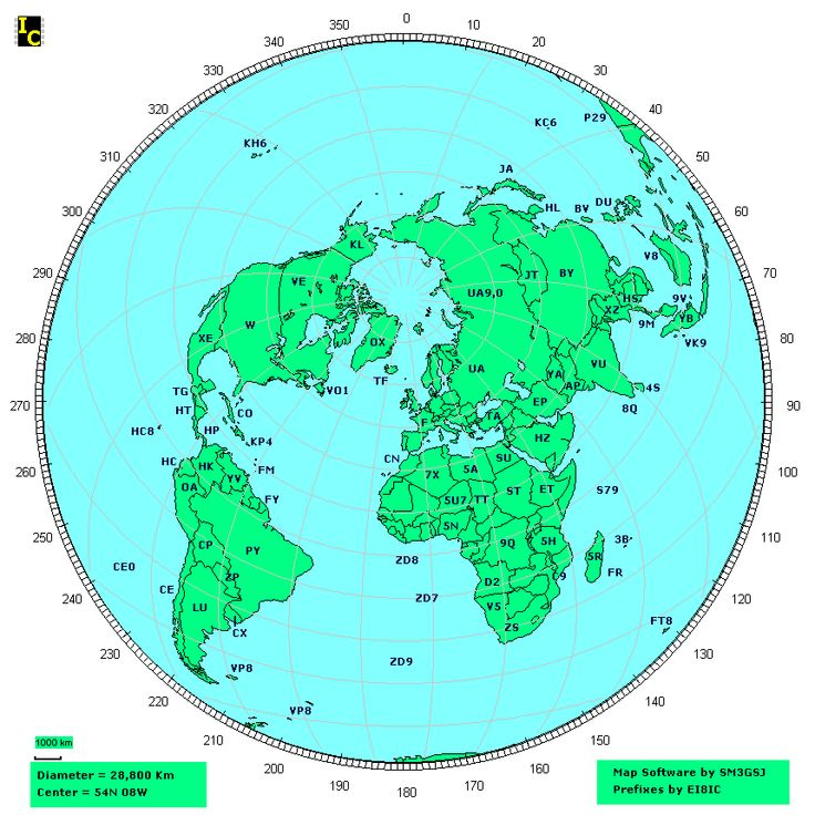 Great Circle map showing country amateur Radio call sign prefixes