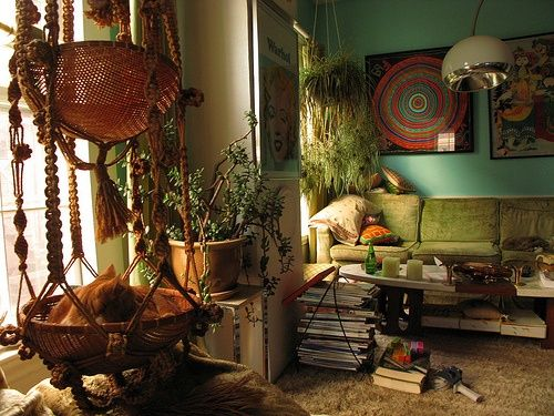 Trying to avoid the way I always fall into this because I am a natural Bohemian packrat, I think... :) I do like it but know we need to eliminate clutter.   Bohemian Homes: Turquoise and Macramé