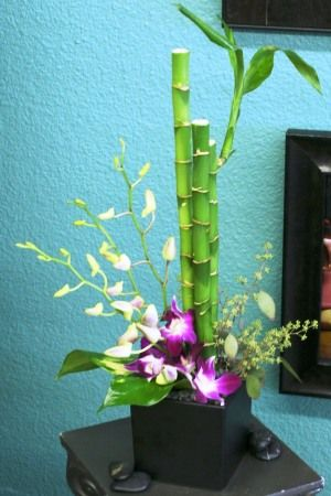 orchid and bamboo centerpiece...great for asian theme