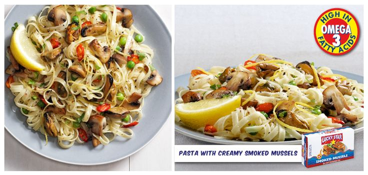 PASTA WITH CREAMY SMOKED MUSSELS  Boil 200g pasta in salted water for 10 minutes and drain. Fry 100g sliced mushrooms, a chopped garlic clove and a ½ teaspoon of chilli flakes for a few minutes in a glug of olive oil. Stir in 3 tablespoons cream cheese, the zest of a lemon and 2 tins drained Lucky Star smoked mussels.  Stir gently to combine, season and serve on pasta with chopped fresh parsley and grated parmesan.